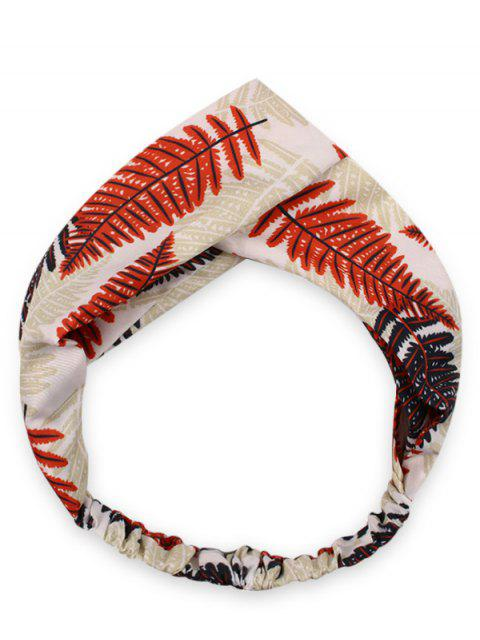 outfits Crossover Leaf Print Hair Band - RED  Mobile