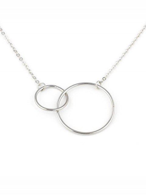 best Geometric Double Hoops Design Necklace - SILVER  Mobile