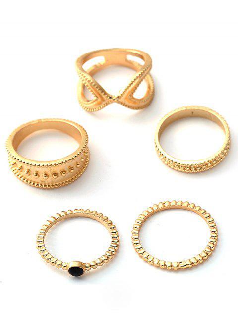 online 5Pcs Retro Design Hollow Rings Set - GOLD  Mobile