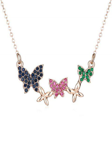 shops Rhinestoned Multiple Butterfly Pendant Necklace - ROSE GOLD  Mobile
