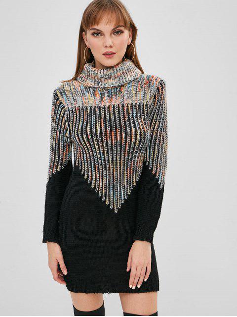 Gemischtes Garn Rollkragenpullover Mini Sweater Dress - Multi-A Eine Größe Mobile
