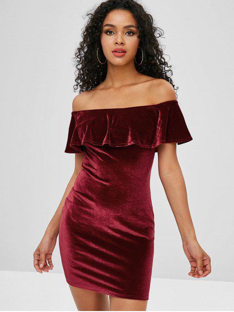Robe Mini Flounce Velvet à épaules dénudées - Rouge Vineux L Mobile