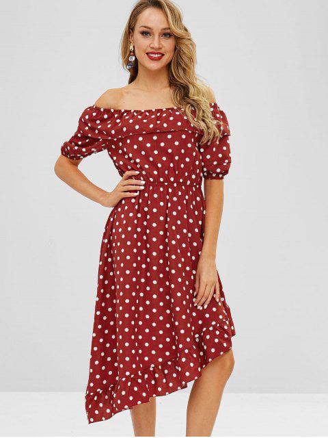 fancy ZAFUL Flounce Polka Dot Asymmetric Dress - RED WINE M Mobile
