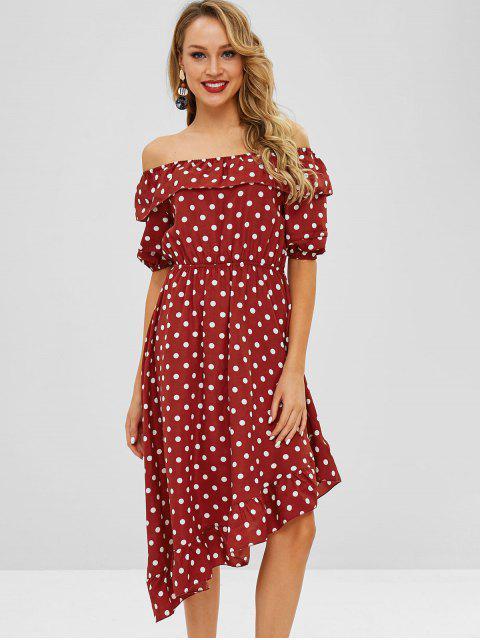 sale ZAFUL Flounce Polka Dot Asymmetric Dress - RED WINE XL Mobile