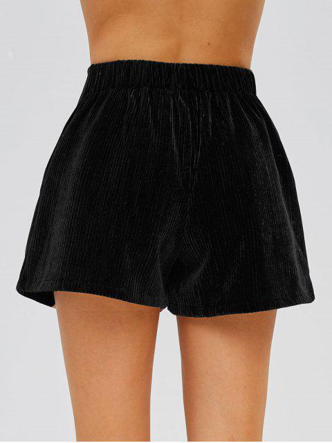 shop Zip Front Ribbed Velvet Shorts - BLACK S Mobile