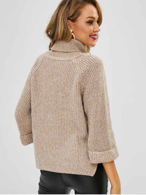 trendy Turtleneck Cuffed Sleeve High Low Sweater - LIGHT KHAKI ONE SIZE Mobile