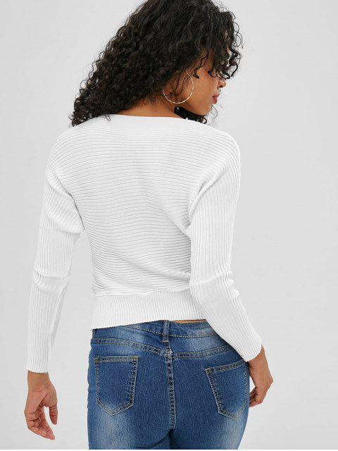 shop Slash Neck Batwing Sleeve Crop Sweater - WHITE ONE SIZE Mobile
