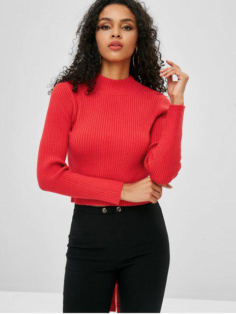 buy ZAFUL Open Back Knotted Mock Neck Sweater - LAVA RED ONE SIZE Mobile