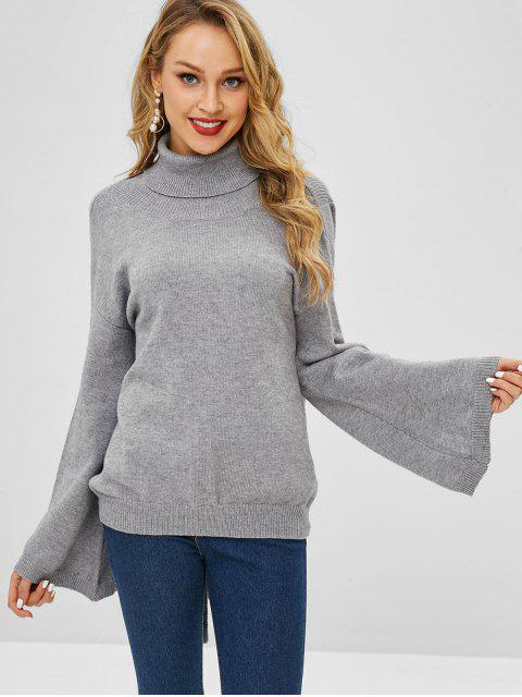 sale ZAFUL Turtleneck Open Back Knotted Sweater - LIGHT GRAY ONE SIZE Mobile