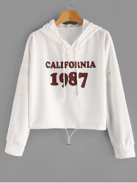 women Drawstring Letter Figure Graphic Hoodie - MILK WHITE ONE SIZE Mobile