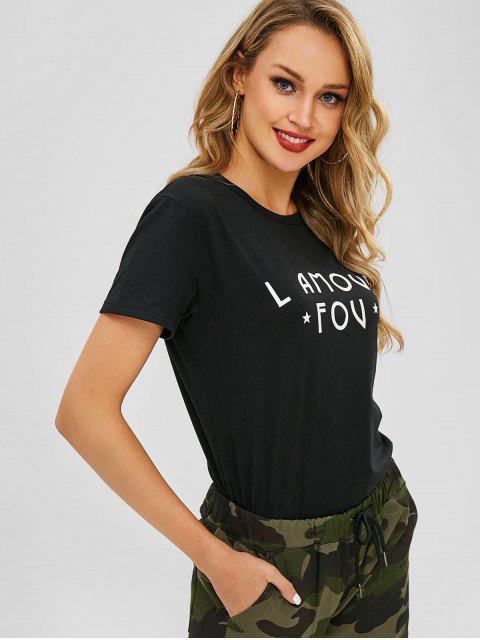 T-shirt I Amour Fou Graphique avec Etoile - Noir 2XL Mobile
