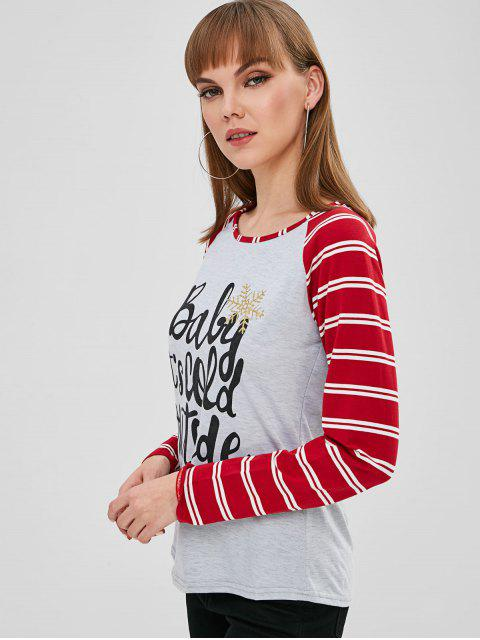 affordable Christmas Graphic Raglan Sleeve Striped T-shirt - MULTI-A L Mobile