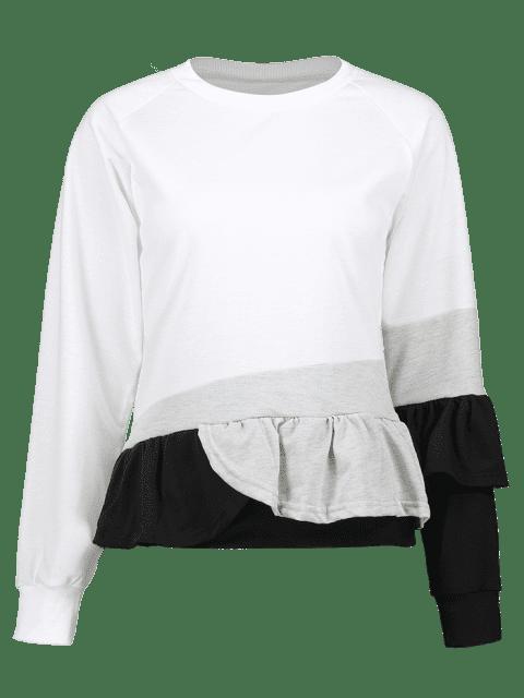 women's Ruffled Color Block Pullover Sweatshirt - WHITE XL Mobile