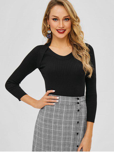 chic V Neck Knit Slim Sweater - BLACK ONE SIZE Mobile