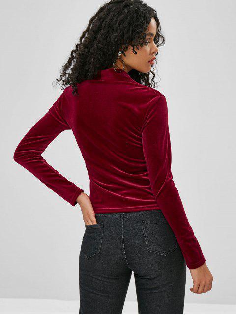 T-shirt à Manches Longues en Velours - Rouge Vineux Taille Unique Mobile