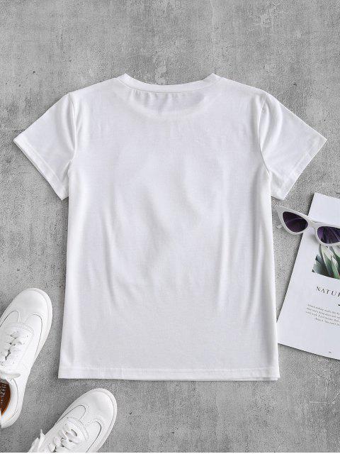T-shirt Applique Graphique Fleuri avec Strass - Blanc M Mobile