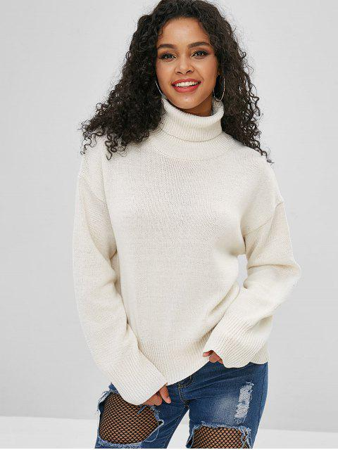 chic Drop Shoulder Turtleneck Knitted Sweater - WARM WHITE  Mobile