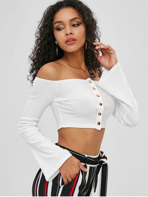 T-shirt moulant avec boutons pression et épaules dénudées - Blanc M Mobile