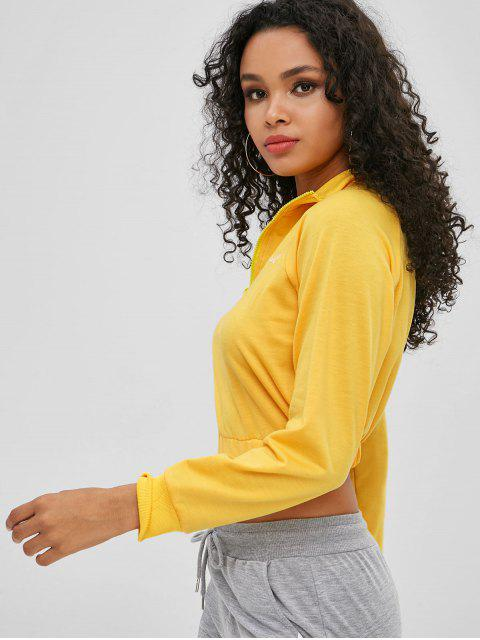 Sweat-shirt court à lettre avec fermeture à glissière - Jaune XL Mobile