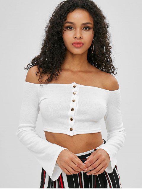 women's Off Shoulder Snap Button Crop T-shirt - WHITE S Mobile