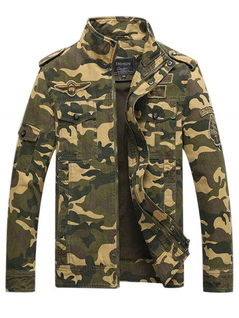 online Appliques Zipper Camouflage Jacket - LIGHT KHAKI XL Mobile