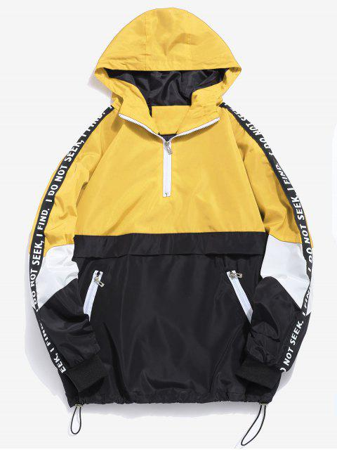 shops Contrast Half Zip Graphic Striped Hoodie - YELLOW L Mobile