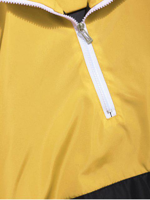 affordable Contrast Half Zip Graphic Striped Hoodie - YELLOW 2XL Mobile
