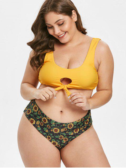 unique ZAFUL Plus Size Sunflower Keyhole Bikini Set - MULTI-A L Mobile