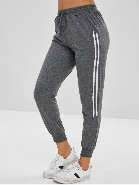 Pantalones de jogger con ribete en contraste - Gris Humo S Mobile