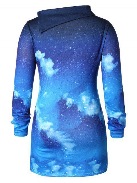 Plus Size 3D Print Christmas T-shirt - 藍色 L Mobile