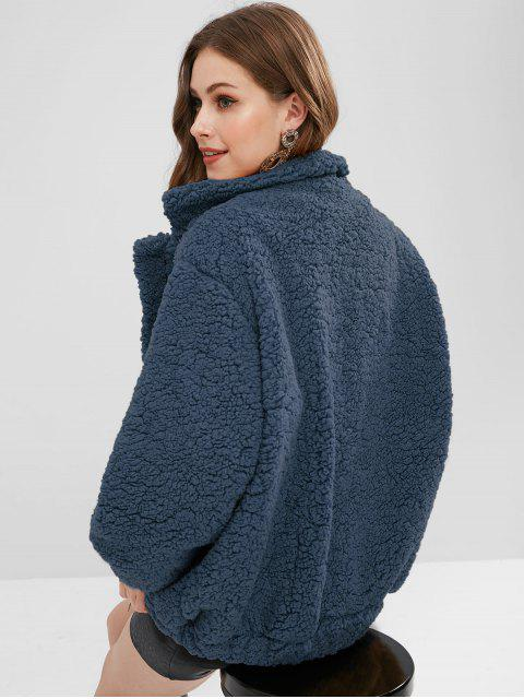 fashion Slip Pockets Faux Fur Teddy Coat - MIDNIGHT BLUE S Mobile