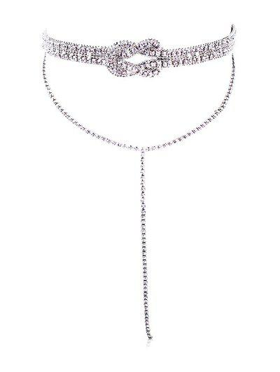 Layered Fully Jewelled Bowknot Design Long Necklace - Silver