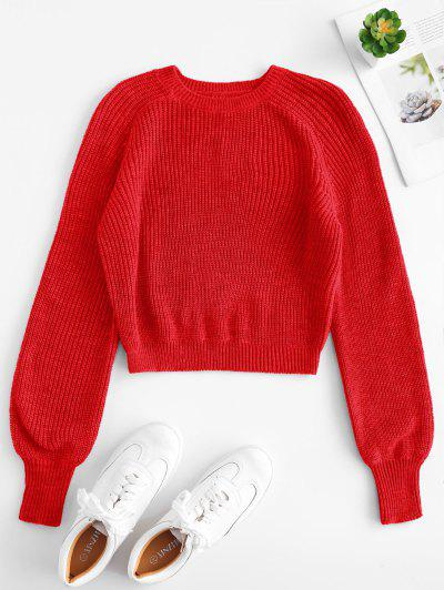 6830e88415 Raglan Sleeves Crop Sweater - Red S