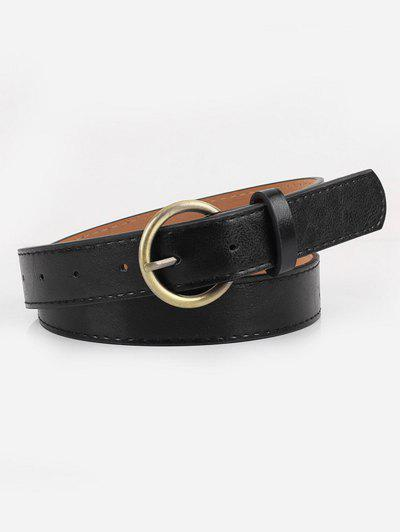 Golden Buckle Faux Leather Waist Belt - Black