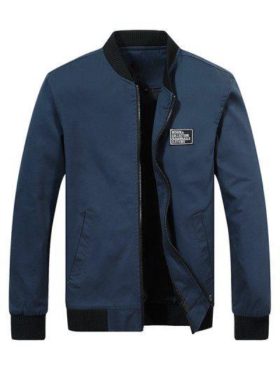 Chest Applique Bomber Jacket - Cadetblue L
