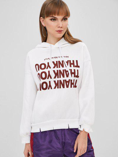 Contrast Graphic Pullover Fleece Lined Hoodie - White L