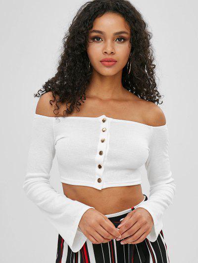 Off Shoulder Snap Button Crop T-shirt