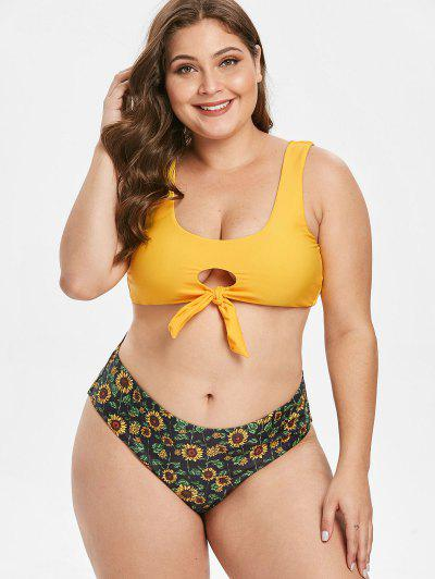 b1522f7b16836 ZAFUL Plus Size Sunflower Keyhole Bikini Set - Multi-a L ...