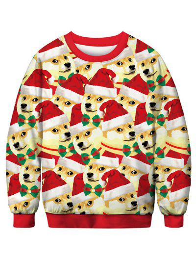 Dog With Christmas Hat Printed Pullover Sweatshirt - Multi S