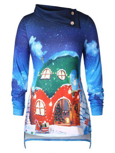 Camiseta Talla Extra Navidad 3D - Azul 5x