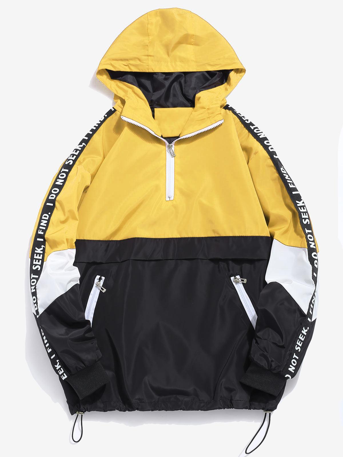 Contrast Half Zip Graphic Striped Hoodie, Yellow