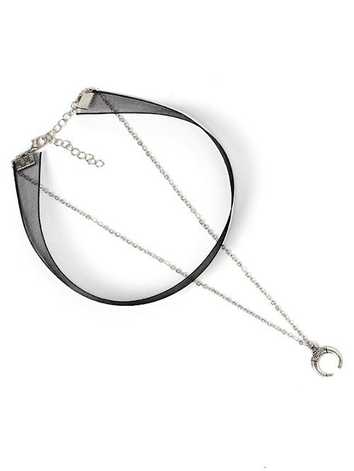 2Pcs Lace Moon Design Pendant Necklace