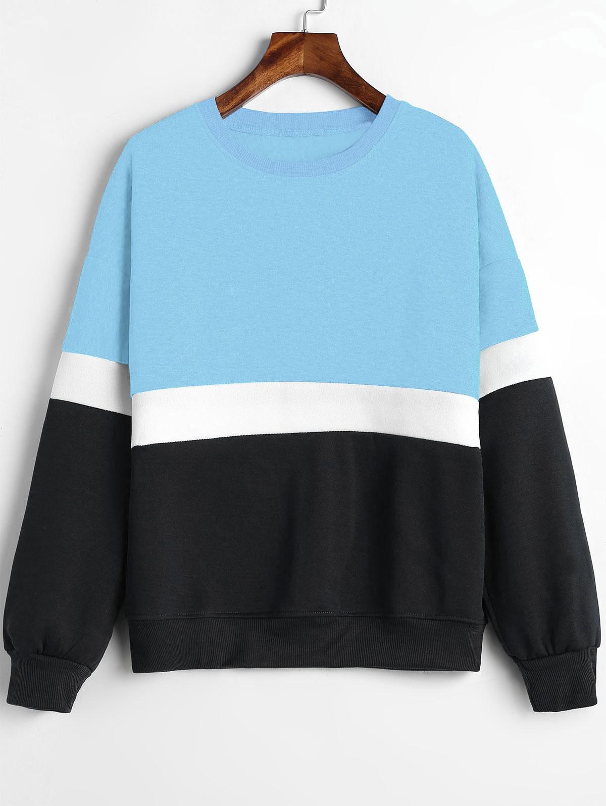 Paneled Color Block Fleece Sweatshirt