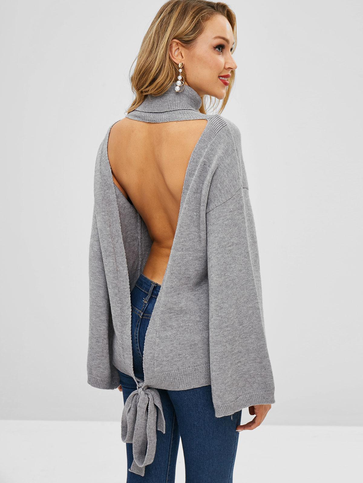 ZAFUL Turtleneck Open Back Knotted Sweater
