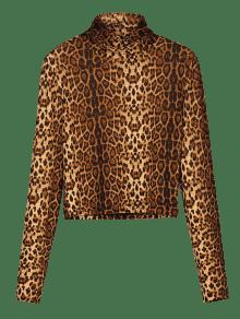 20% OFF  2019 Turtleneck Jersey Leopard Print Cropped Tee In LEOPARD ... b7efdbfc1