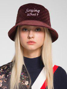 SAYING WHAT Embroidery Bucket Hat  SAYING WHAT Embroidery Bucket Hat ... 410c1c331901