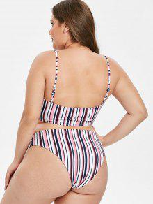 c8dc7e55059 22% OFF] 2019 ZAFUL Striped Plus Size Bikini Set In MULTI | ZAFUL