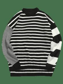 2ba8c64701 34% OFF  2019 Contrast Striped Loose Knit Sweater In BLACK XL