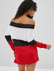 f3a45a6b8c3 28% OFF  2019 Striped Off The Shoulder Sweater Dress In MULTI