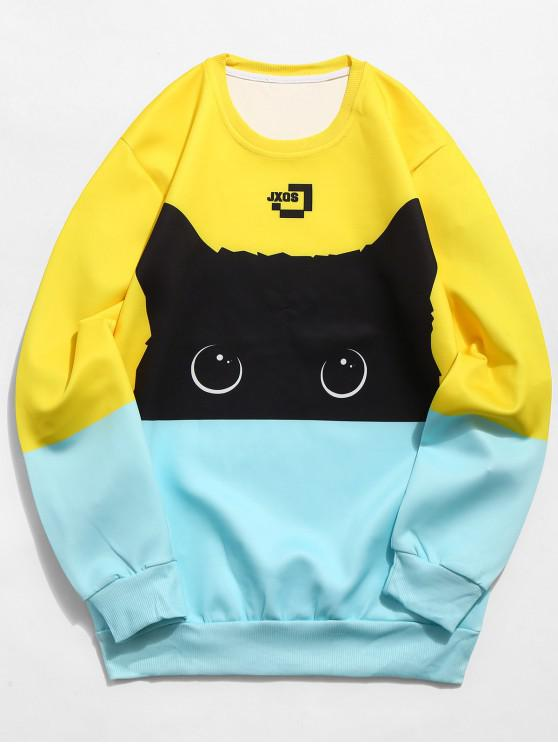 lady Color Block Cat Print Sweatshirt - MULTI-A XS